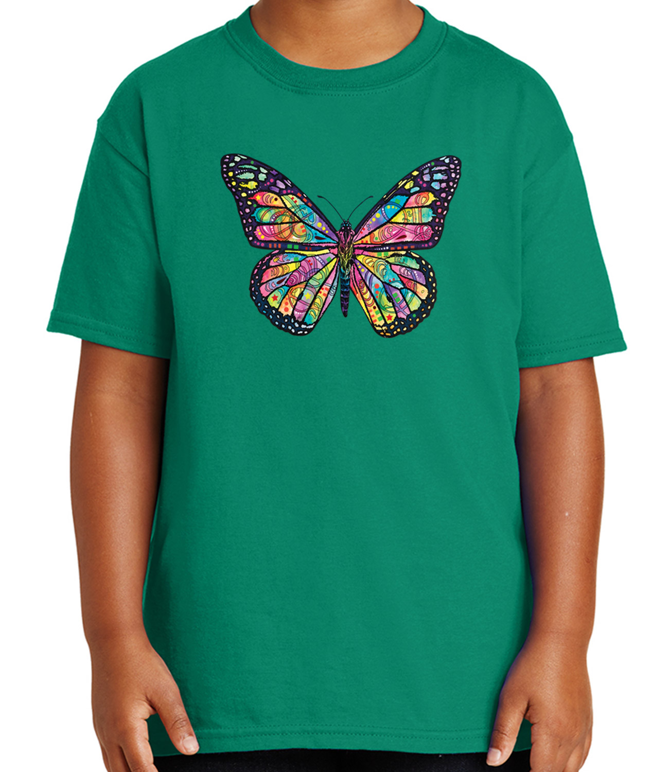 Neon Butterfly Kid/'s T-shirt Cute Rainbow Colors Butterfly Tee for Youth 1594C