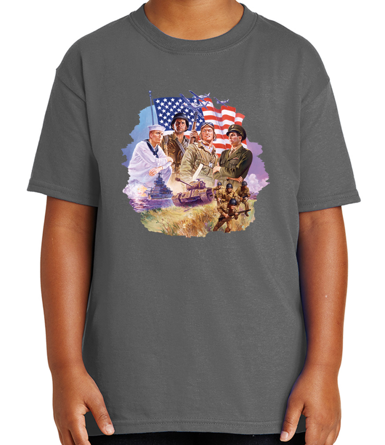 1603C Patriotic US Army Kid/'s T-shirt American Military Soldiers Tee for Youth